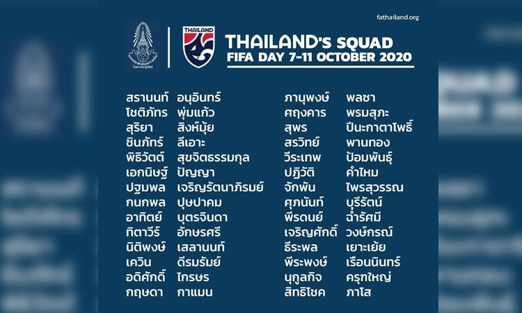 สมาคมฯ ประกาศรายชื่อนักฟุตบอลชายทีมชาติไทย 28 คน เก็บตัว 7-11 ตุลาคม 2563